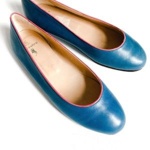 Ralph Lauren Collection Blue Leather Flats